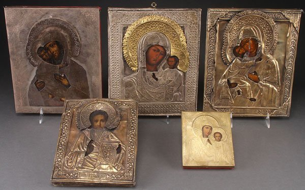 A GROUP OF FIVE RUSSIAN ICONS, 19TH CENTURY. Comp
