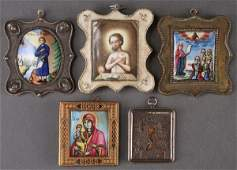 A GROUP OF FOUR RUSSIAN ROSTOV ENAMELED ICONS CI