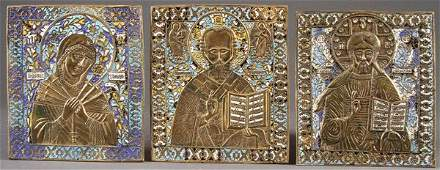 A GROUP OF THREE RUSSIAN ICONS, 2ND HALF 20TH CEN