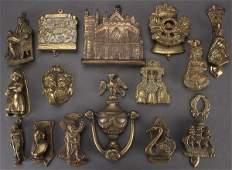 14 ENGLISH FIGURAL BRASS DOOR KNOCKERS