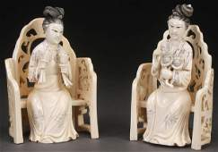 2 CHINESE CARVED IVORY FIGURES, PROBABLY LATE 19TH C