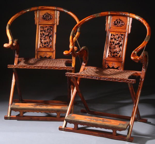PAIR OF CHINESE HORSESHOE BACK FOLDING HUNTERS CHAIRS