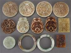 A 13 CHINESE CARVED HARDSTONE MEDALLIONS