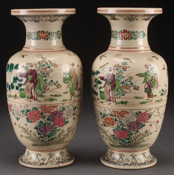 PAIR OF JAPANESE KINKOZAN SIGNED ENAMELED VASES