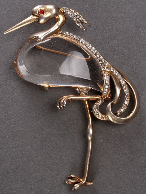 "A LADIES TRIFARI STERLING-GILT ""GREAT BLUE HERON"""