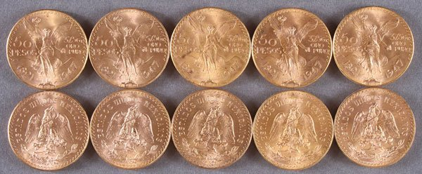 TEN 1947 MEXICAN GOLD 50 PESOS. Each 37.5 grams g