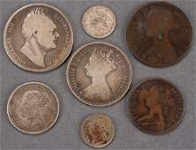 SEVEN GEORGIAN PERIOD COINS Including copper and