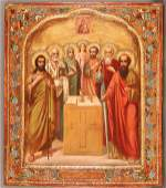 A FINE RUSSIAN ICON OF SELECTED SAINTS