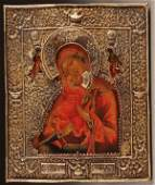 A FINE RUSSIAN ICON OF THE MOTHER OF GOD