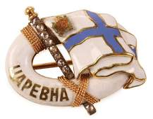 A FABERGE IMPERIAL RUSSIAN YACHT BADGE