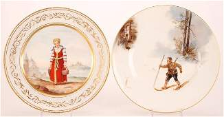 A PAIR OF RUSSIAN PORCELAIN PLATES, 19TH CENTURY.