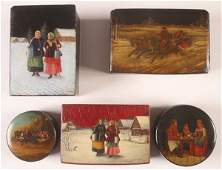 GROUP OF FIVE RUSSIAN LACQUER BOXES, 19TH CENTURY