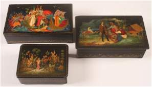 GROUP OF 3 PALEKH SOVIET PERIOD LACQUER BOXES
