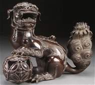 CHINESE BUDDHIST LION BRONZE CENSER