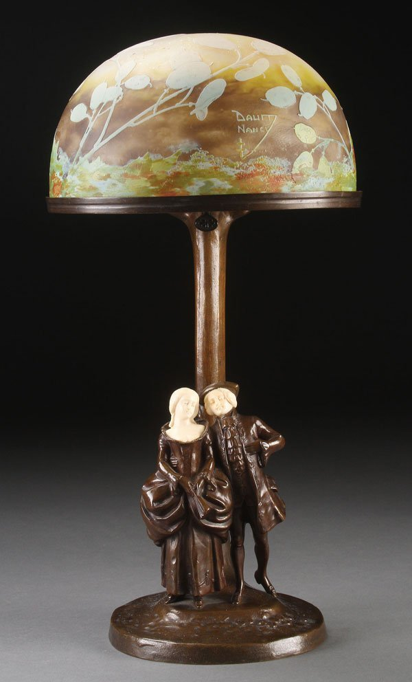 PETER TERESZCZUK, DAUM NANCY BRONZE & GLASS LAMP