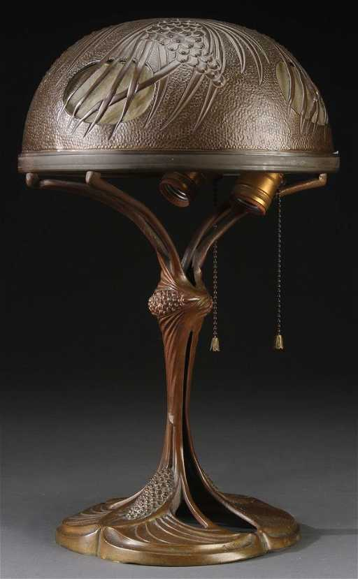 Georges Leleu Art Nouveau Table Lamp Early 20th C