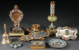 8 PIECE GROUP OF FRENCH CHAMPLEVÉ ENAMELED ITEMS