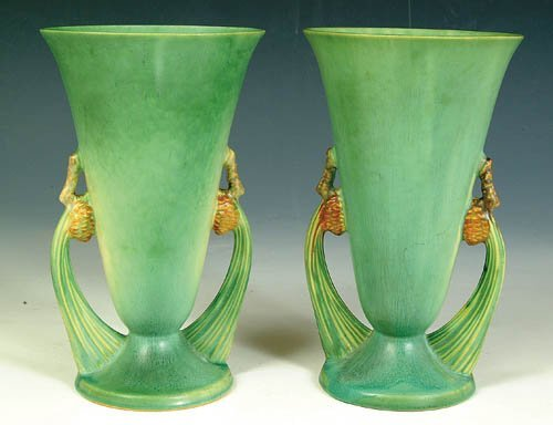 """5: A PAIR OF ROSEVILLE """"PINECONE"""" VASES in"""