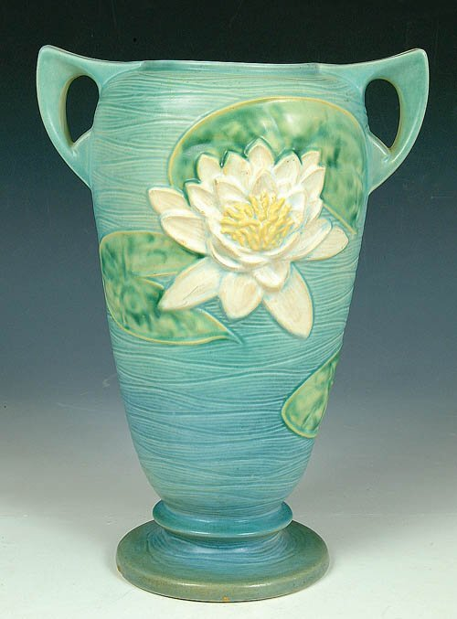 """17: A ROSEVILLE """"WATER LILY"""" FLOOR VASE in"""