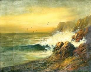 """DORE (American 19th century). """"Seascape"""