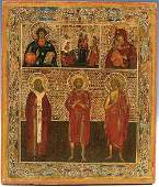 1063: A RUSSIAN ICON: Selected Saints. At top
