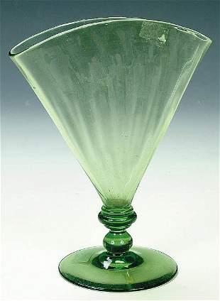 A STEUBEN GLASS FAN VASE, circa 1930, i