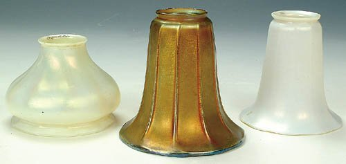 1271: A GROUP OF THREE ART GLASS SHADES, circ