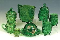 1354: GREEN VICTORIAN PATTERN GLASS CROESUS