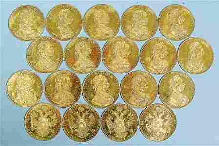 1956: A GROUP OF 19 GOLD AUSTRIAN 4 DUCATS AL