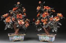 A PAIR OF LARGE CHINESE CARVED HARDSTONE TREES