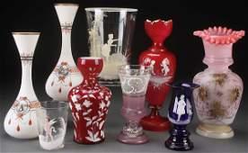 9 BOHEMIAN ENAMELED MOSTLY VICTORIAN GLASS VASE
