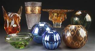 EIGTH CZECH AND BOHEMIAN GLASS VASES AND BOWLS