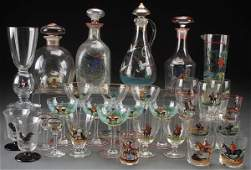 THIRTY-ONE PIECE GROUP OF CZECH ENAMELED GLASS