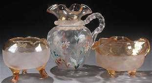 A THREE PIECE VICTORIAN POMONA ART GLASS GROUP