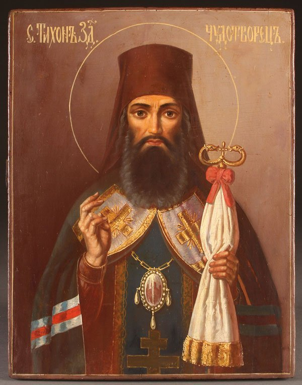 A RUSSIAN ICON OF SAINT TIKHON OF ZADONSK