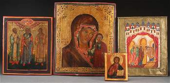 A GROUP OF FOUR RUSSIAN ICONS 19TH20TH CENTURY