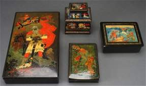 FOUR RUSSIAN HANDPAINTED LACQUER BOXES