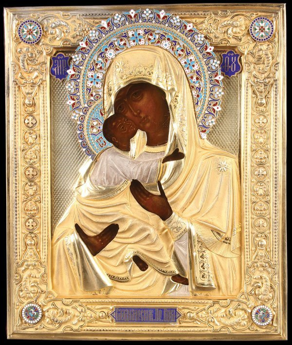 A FINE RUSSIAN ICON OF THE VLADIMIR MOTHER OF GOD