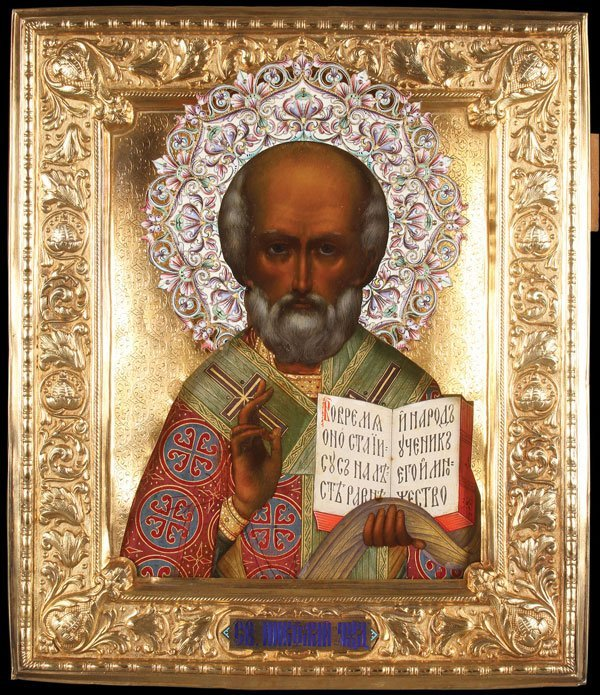 YELTSIN TO POPE JOHN PAUL ANTIQUE RUSSIAN ICON