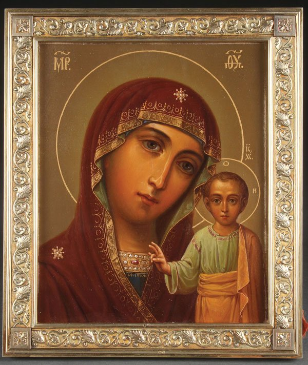 AN INTERESTING SIGNED RUSSIAN ICON OF THE KAZAN