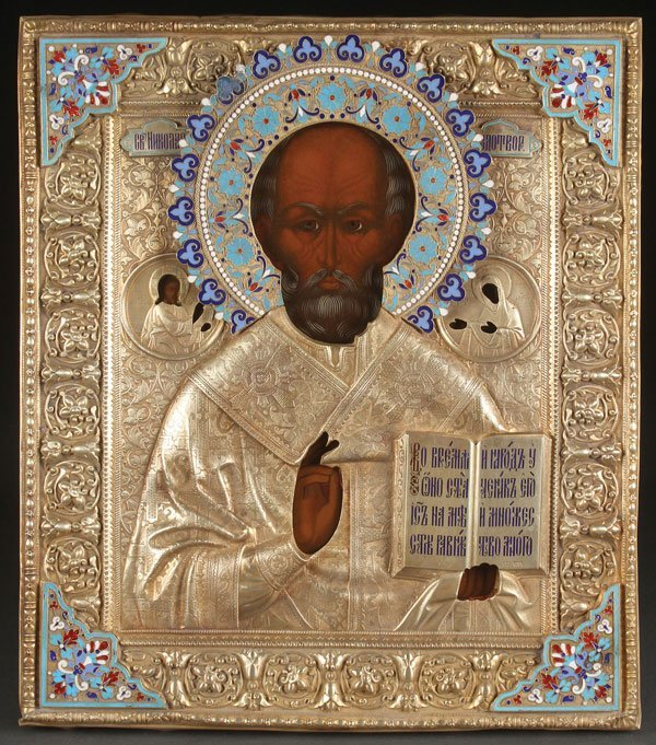 A RUSSIAN ICON OF SAINT NICHOLAS, MOSCOW