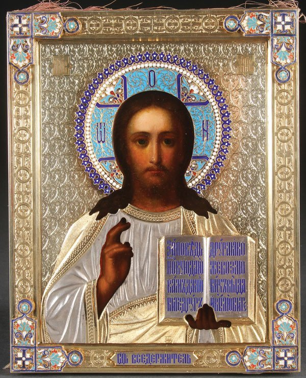 A FINE RUSSIAN ICON OF CHRIST, MOSCOW, DATED 1894