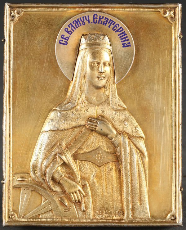 AN INTERESTING RUSSIAN ICON OF ST. CATHERINE