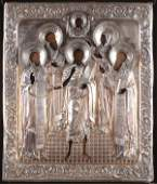 A LARGE RUSSIAN ICON WITH SILVER RIZA DATED 1860