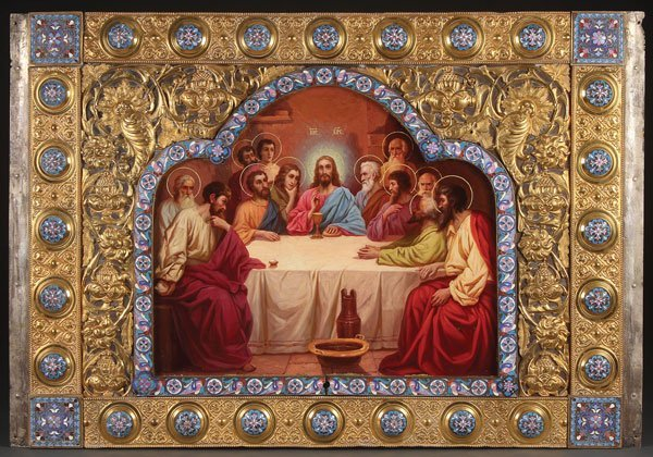 A LARGE AND IMPRESSIVE ICON OF THE LAST SUPPER