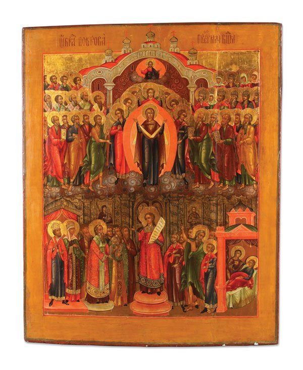 LARGE & EXCEPTIONAL  RUSSIAN ICON PALEKH (88 x 72 cm)