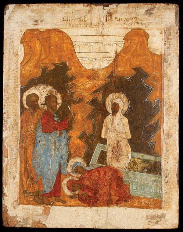 16TH CENTURY  RUSSIAN ICON OF THE  RAISING OF LAZARUS