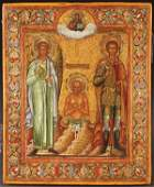 RUSSIAN ICON OF SELECTED SAINTS, MSTERA, 1890