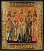 A VERY FINE RUSSIAN ICON OF SELECTED SAINTS