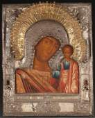 A FINE OVERSIZED RUSSIAN ICON OF THE KAZAN MOTHER